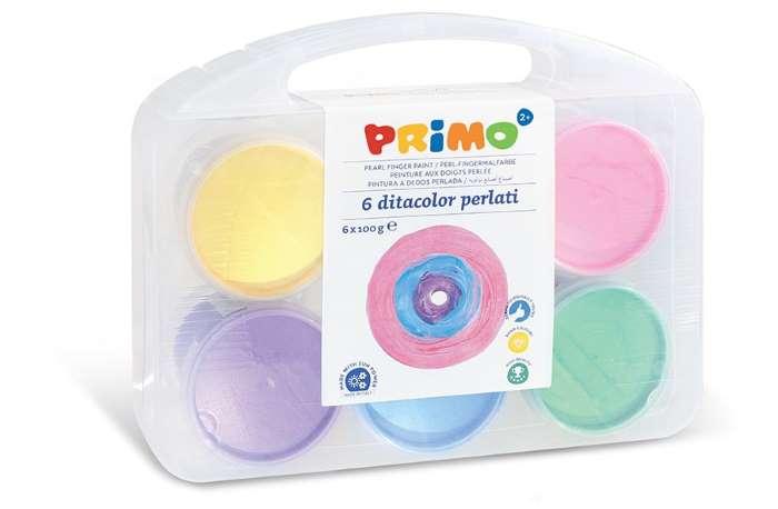 Prstové barvy PRIMO, perleťové, sada 6 x 100 g