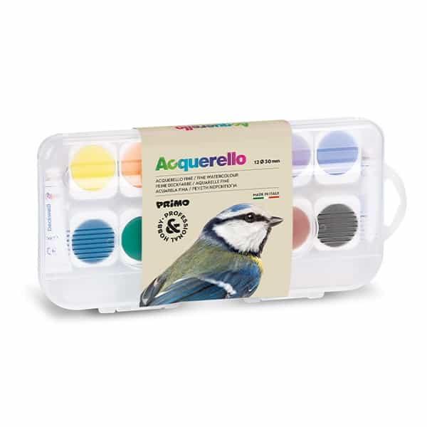 Akvarelové barvy PRIMO, 30mm, 12 barev + 2x běloba + štětec