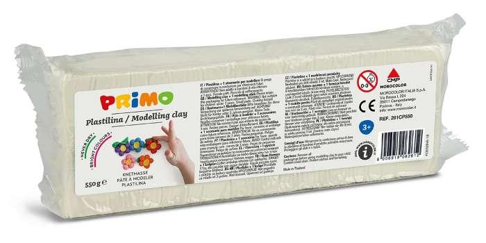 Plastelína PRIMO, 550 g, bílá (č. barvy 100)
