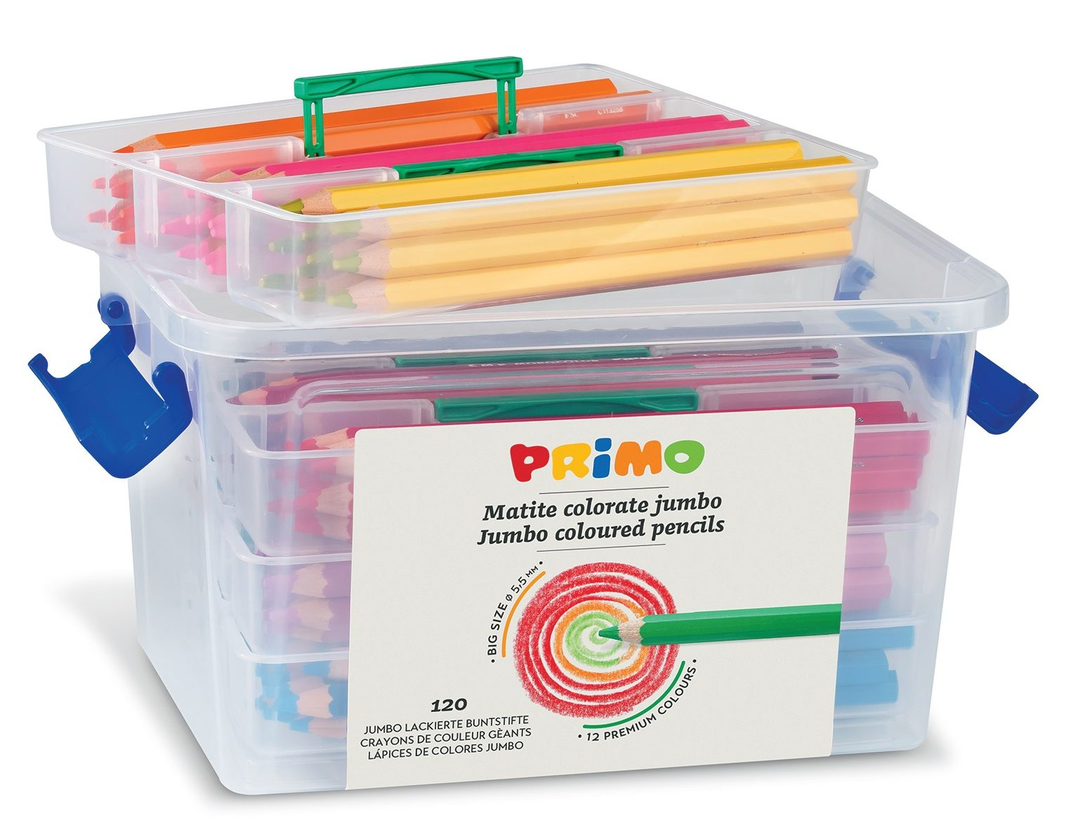 Pastelky PRIMO JUMBO, 120ks, tuha 5,5mm, PP box