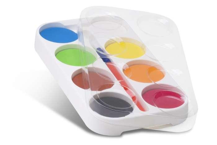 Vodové barvy PRIMO JUMBO, Ø 55mm, 8 barev, paleta, štětec