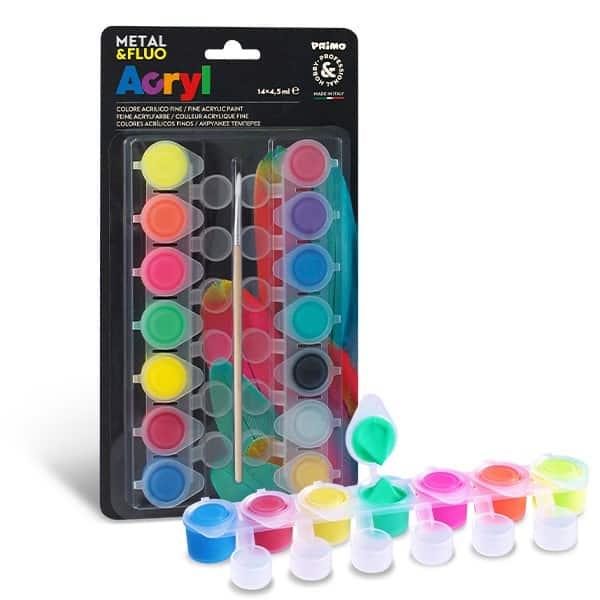 Akrylové barvy PRIMO FLUO+METAL, 14 x 4,5 ml, blistr