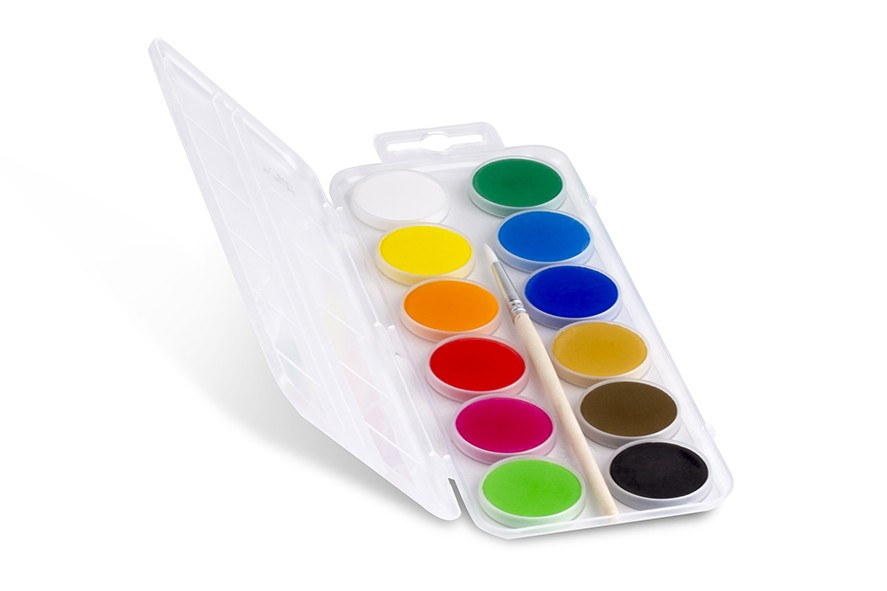 Vodové barvy PRIMO ECONOMY, Ø 25mm, 12 barev + štětec