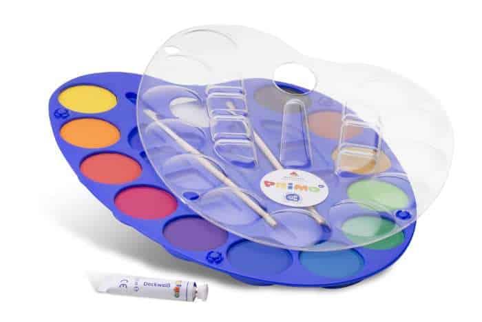 Vodové barvy PRIMO, MAXI PRIMO, Ø 44mm, 12 barev + paletka
