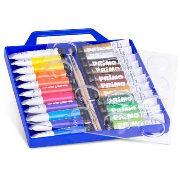 Temperové barvy PRIMO, 22 x 12 ml, 2 x štětec, PP Box