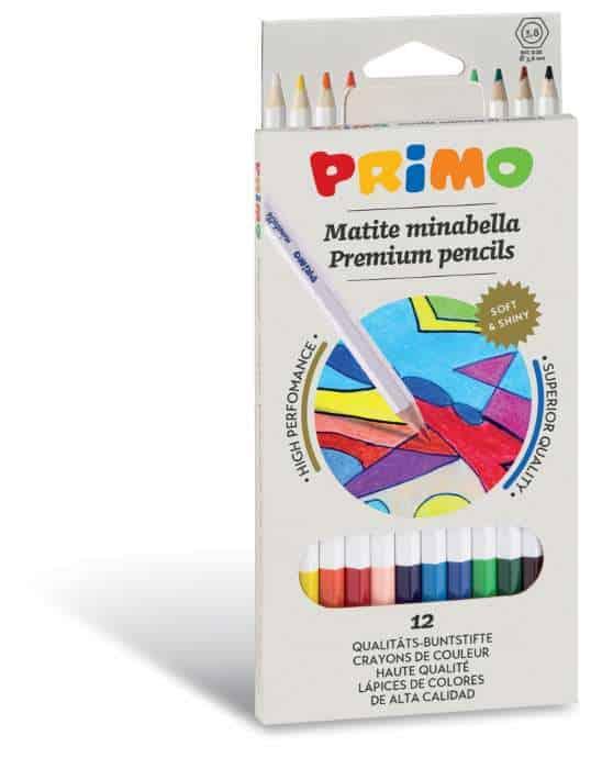 Pastelky PRIMO MINABELLA, tuha 3,8mm, 12ks, lakované