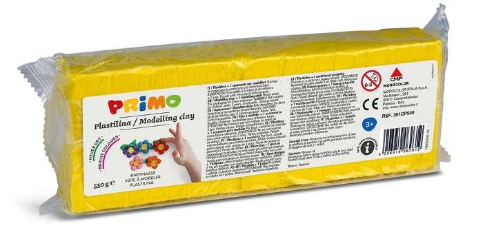 Plastelína PRIMO, 550 g, citronově žlutá (č. barvy 201)