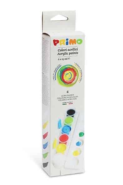 Akrylové barvy PRIMO, sada 6 x 25 ml + paleta
