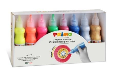 Temperové 3D barvy PRIMO FLUO+METAL, sada 8 x 50ml
