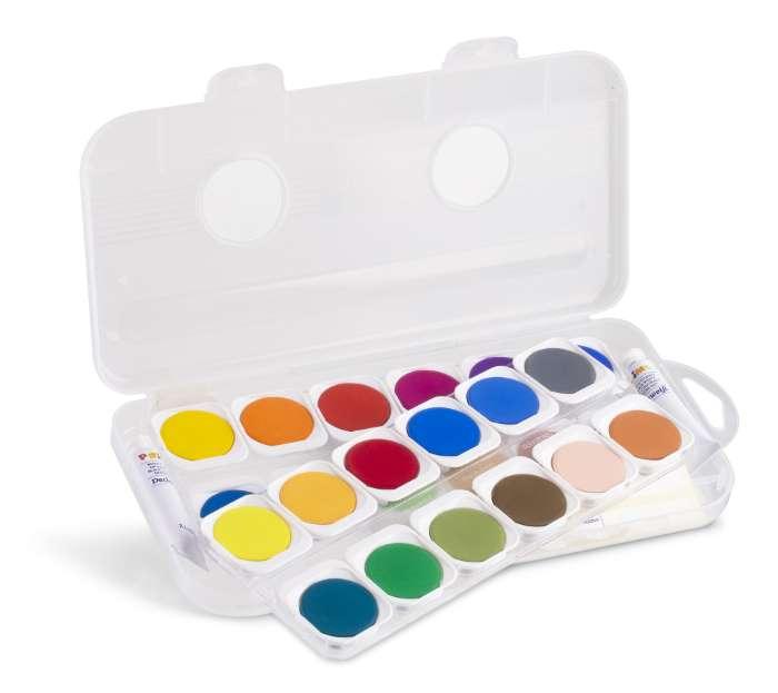 Akvarelové barvy PRIMO, 30mm, 24 barev + 2x běloba + štětec