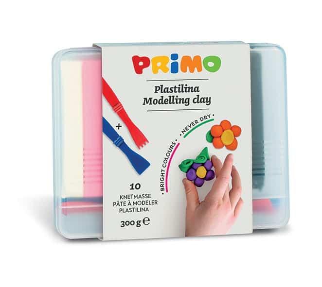 Plastelína PRIMO, 10 x 30 g, mix barev + pomůcky