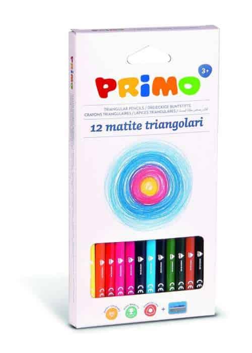 Pastelky trojboké PRIMO, tuha 3mm, 12ks + ořezávátko