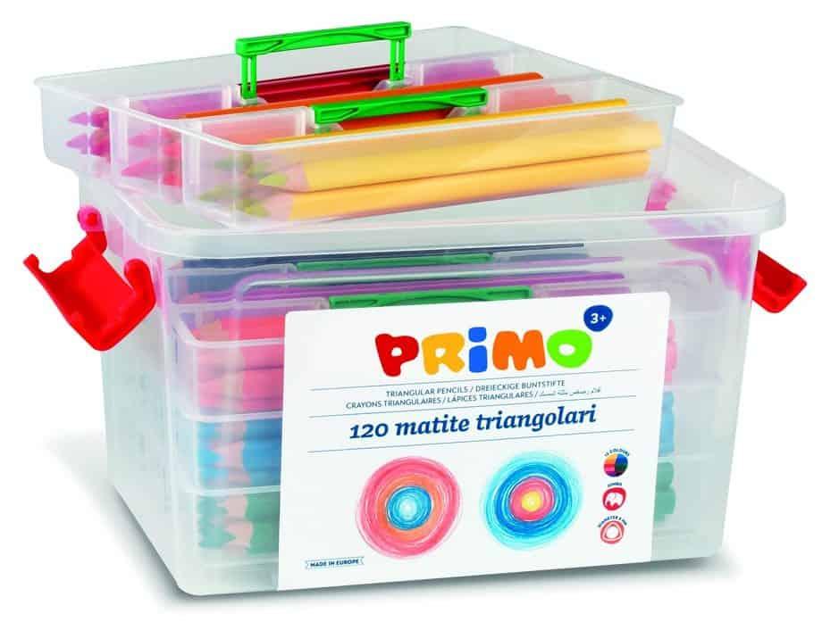 Pastelky trojboké PRIMO JUMBO, tuha 5,5mm, 120ks, PP box