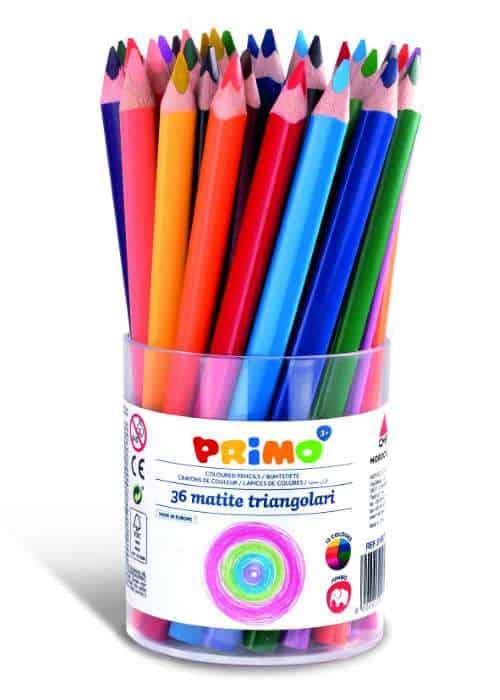 Pastelky PRIMO JUMBO TRIS trojhranné silné, 36 ks, PP kelímek