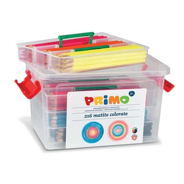 Pastelky barevné PRIMO, tuha 2,9mm, 216ks (12 barev x 18ks), PP box