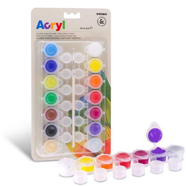 Akrylové barvy PRIMO, 14 x 4,5 ml, blistr