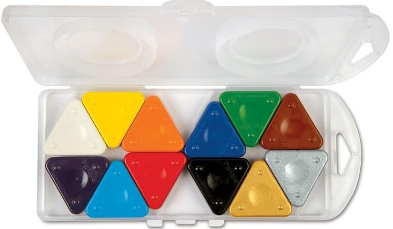 Trojboké voskovky MAGIC PRIMO, sada 12 ks (10 zákl. + 2 metal.), plast. box