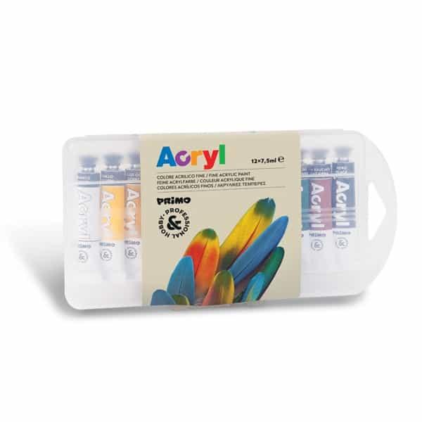Akrylové barvy PRIMO,12 x 7,5 ml, tuby