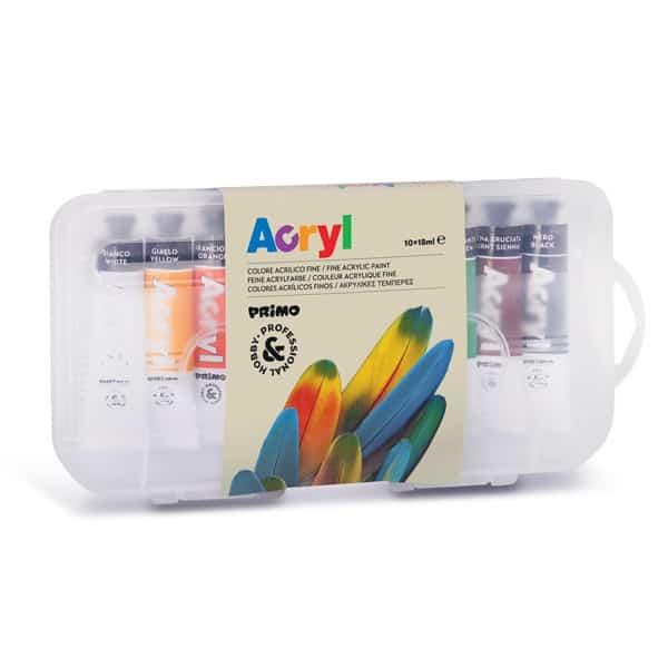 Akrylové barvy PRIMO, 10 x 18 ml, tuba