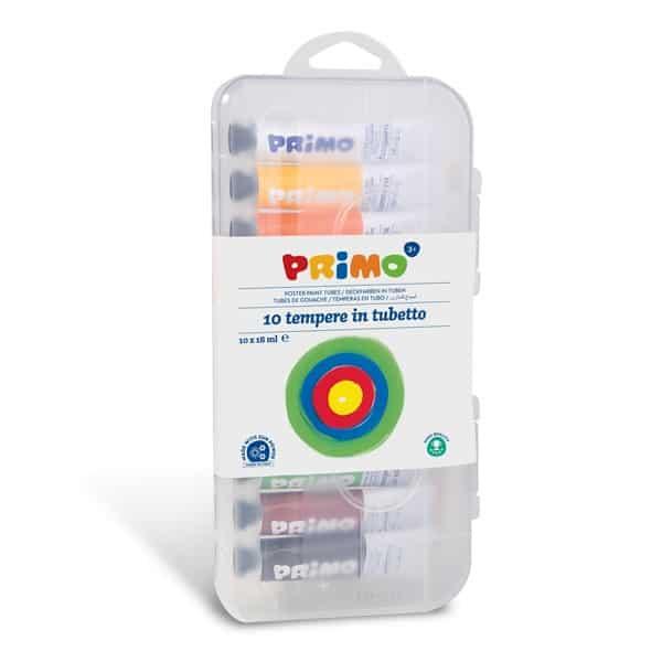 Temperové barvy PRIMO, 10 x 18 ml, štětec