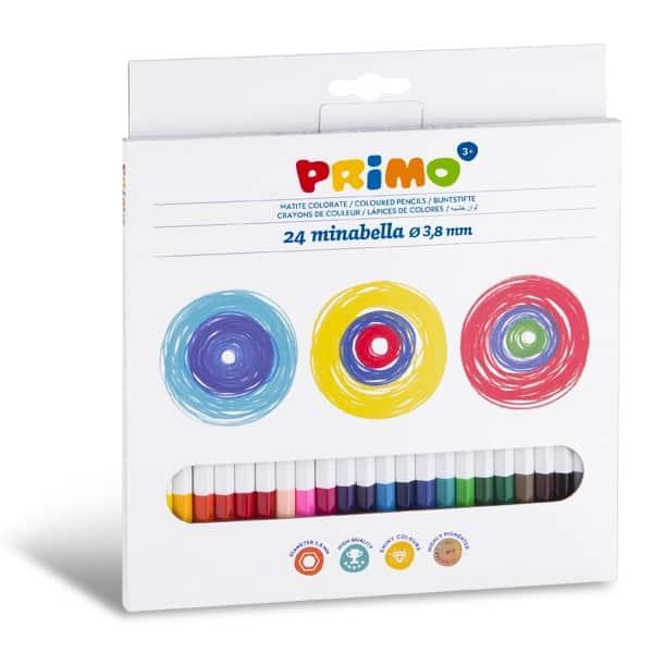 Pastelky PRIMO MINABELLA, tuha 3,8mm, 24ks, lakované