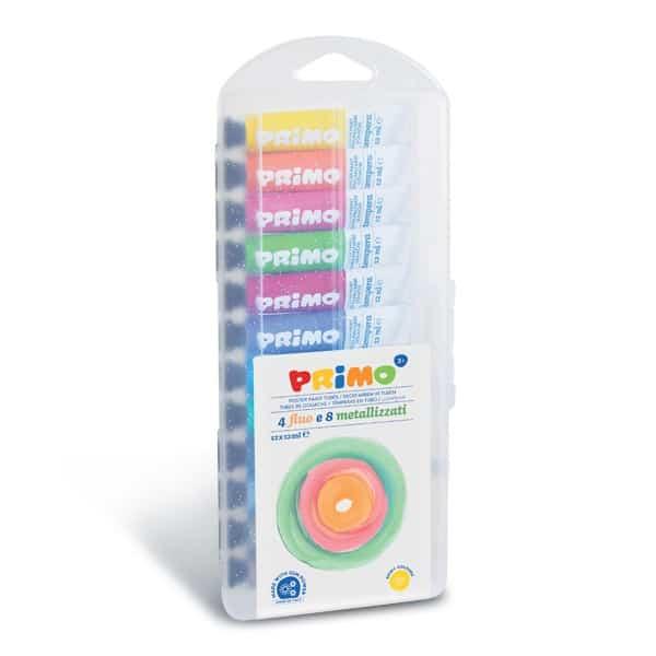 Temperové barvy PRIMO, 12 x 12 ml, 8 metalických + 4 fluo odstíny