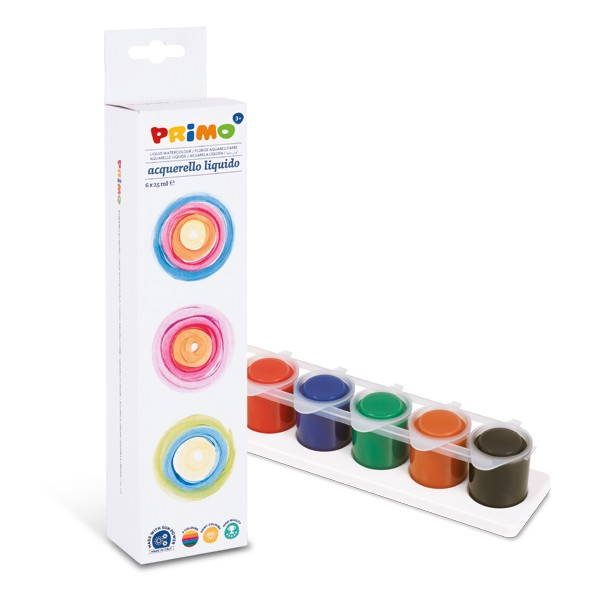 Akvarelové barvy PRIMO, tekuté, 6 x 25 ml