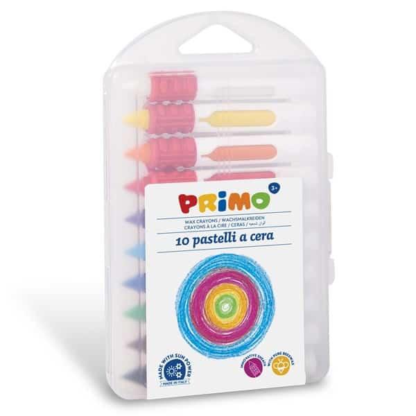 Voskové pastelky PRIMO, vysouvací plast. obal, 9 x 80mm, 10ks
