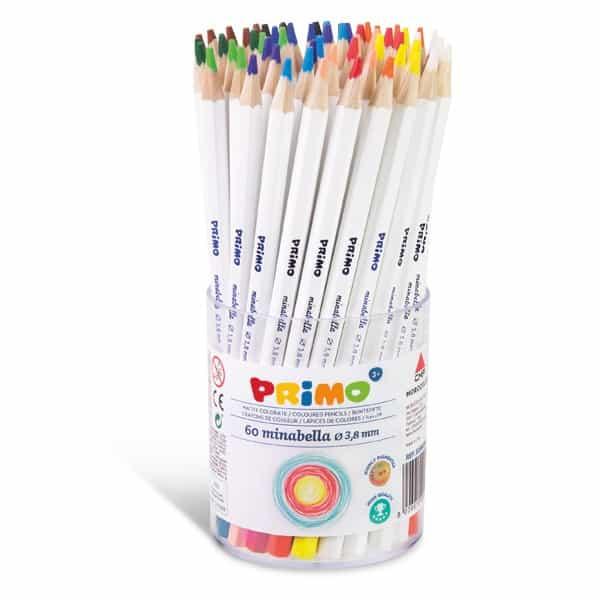 Pastelky PRIMO MINABELLA, tuha 3,8mm, lakované, sada 60ks, PP etue