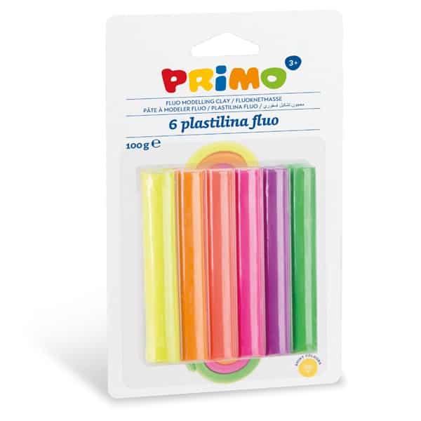 Plastelína PRIMO FLUO, 6 x 17 g, mix barev