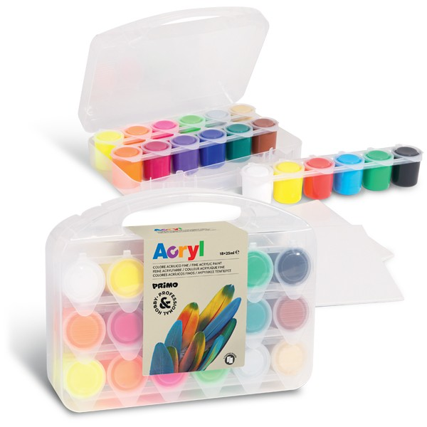 Akrylové barvy PRIMO, sada 18 x 25ml, 2 x miniplátno, kelímky