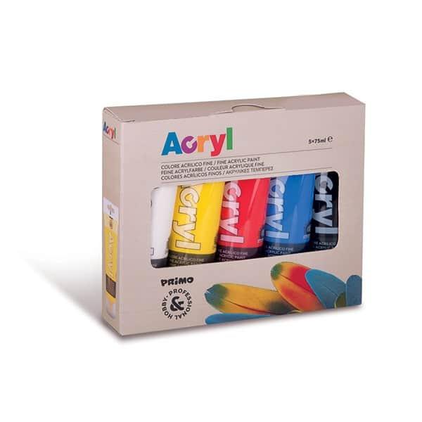 Akrylové barvy PRIMO, 5 x 75 ml