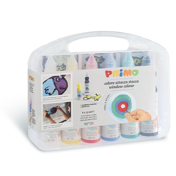 Barvy na sklo PRIMO, sloupávací, 6 x 75 ml, PP box