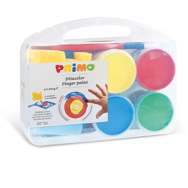 Prstové barvy PRIMO, dárková sada 4 x 100g + doplňky