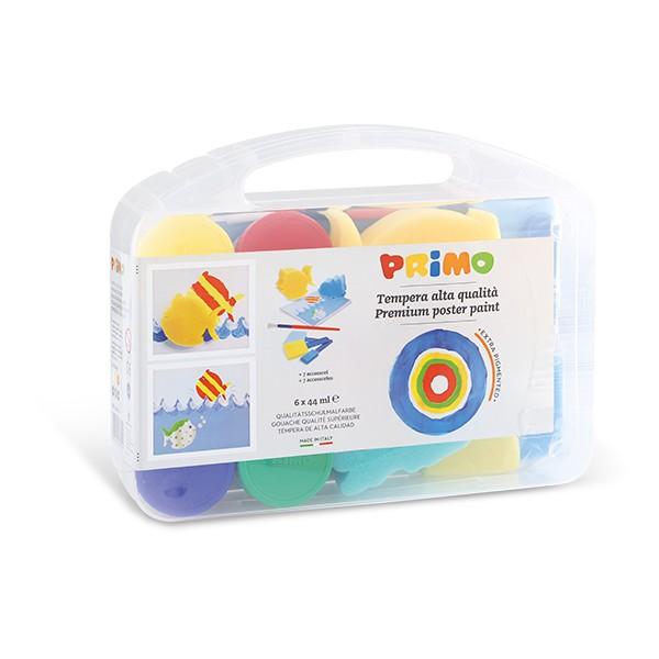 Temperové barvy PRIMO, dárková sada 6 x 44 ml + 7 pomůcek, PP box