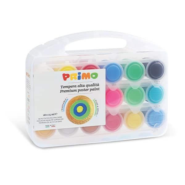 Temperové barvy PRIMO, dárková sada 18 x 25ml, PP box