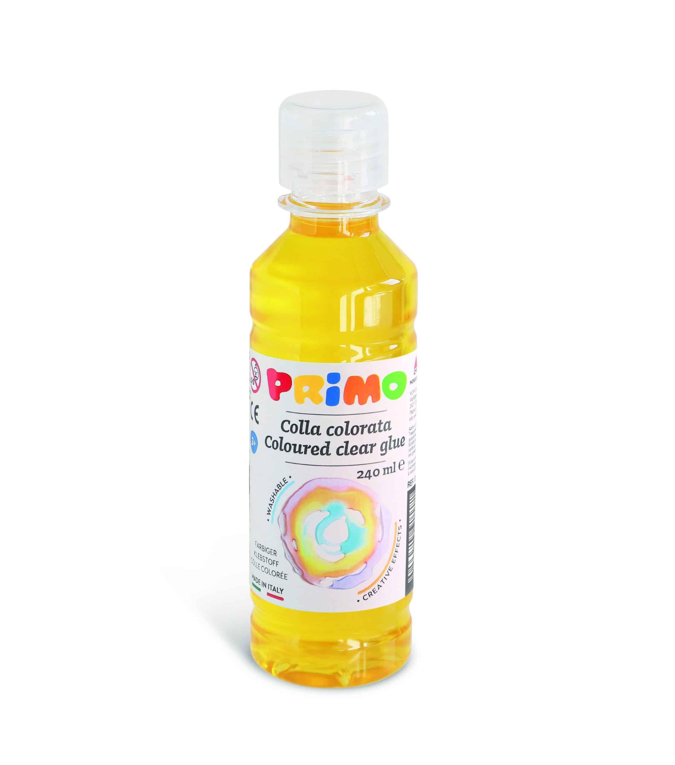 Barevné čiré lepidlo PRIMO na vodní bázi, 240 ml, žluté