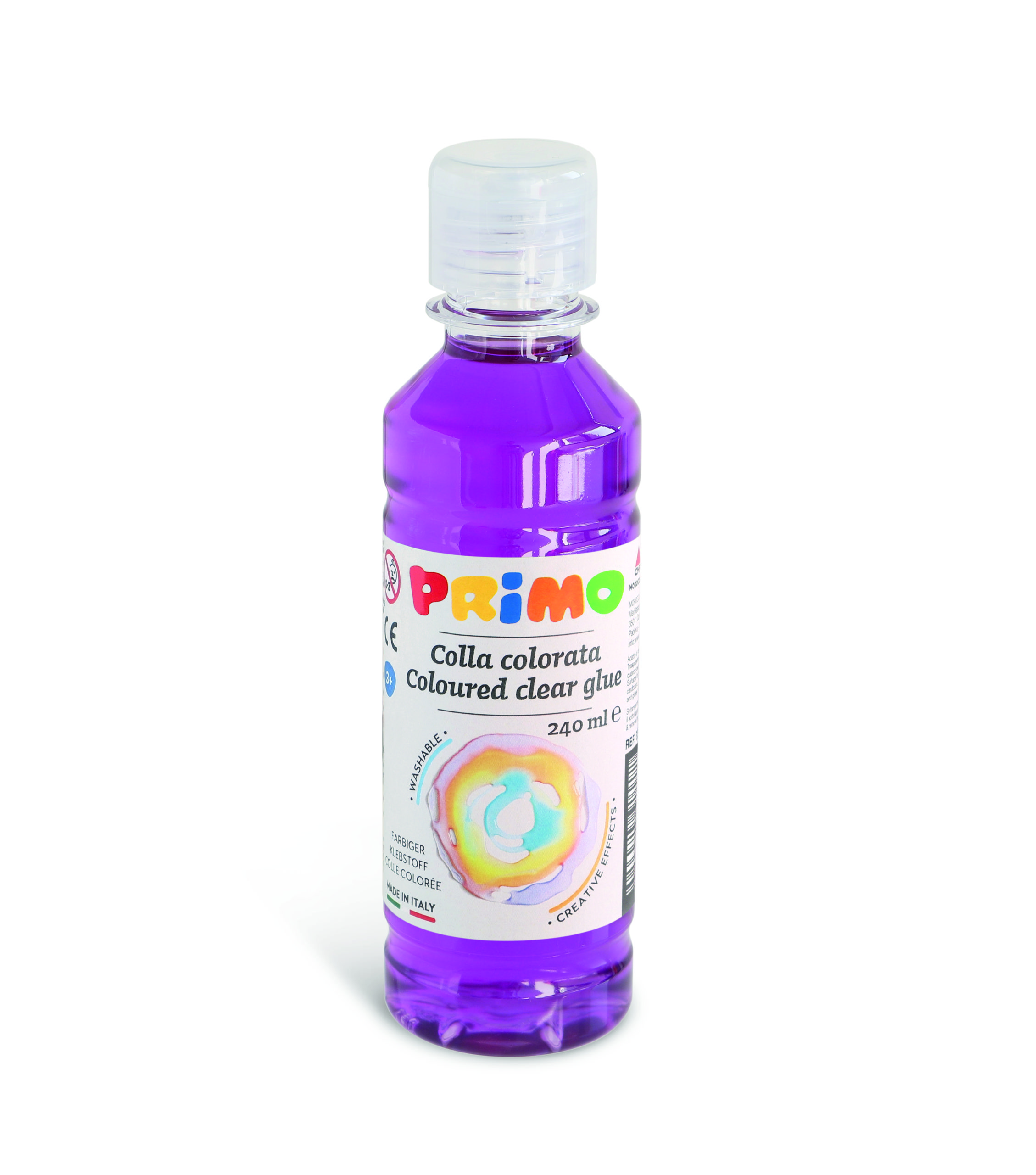Barevné čiré lepidlo PRIMO na vodní bázi, 240 ml, fialové