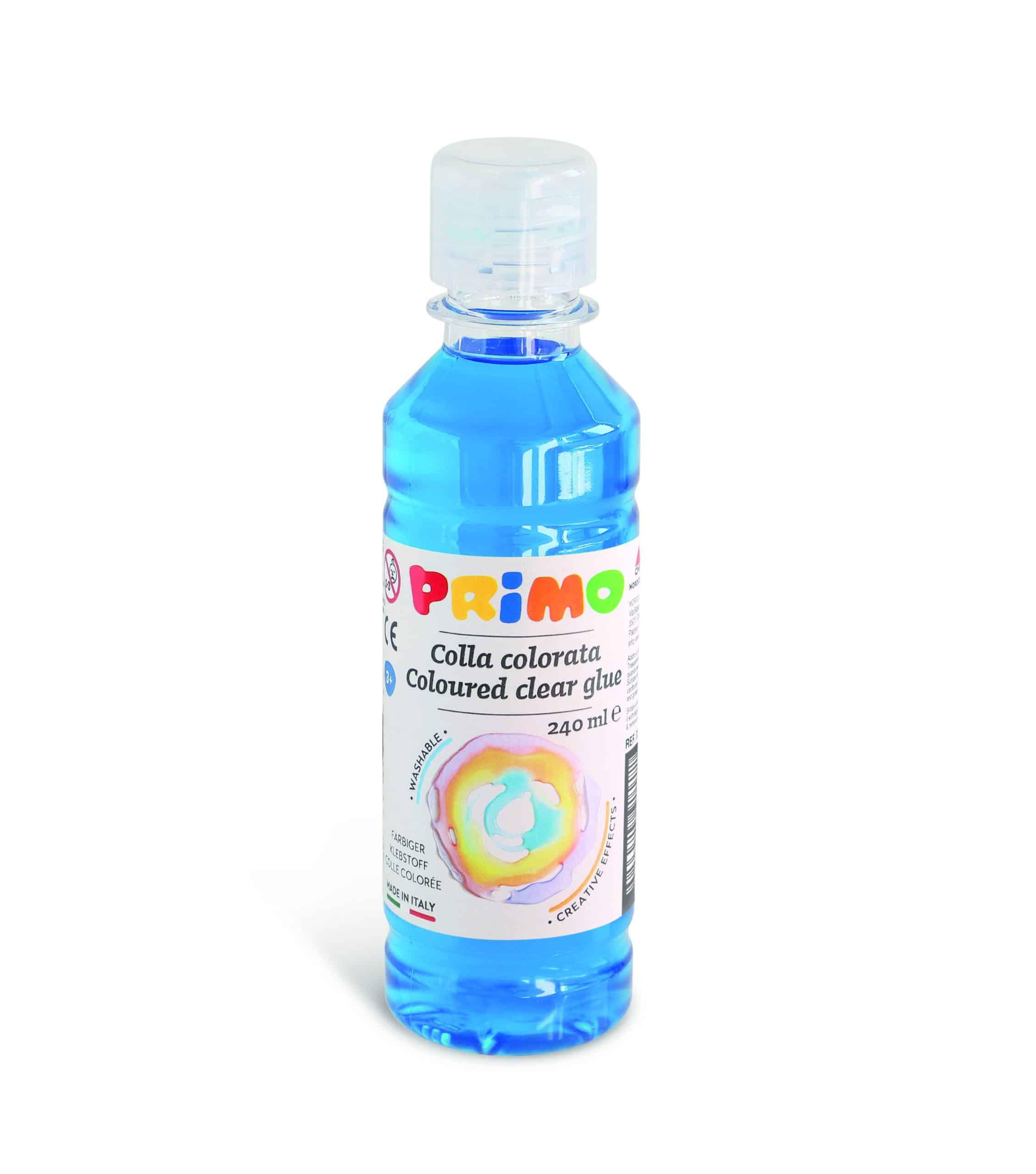 Barevné čiré lepidlo PRIMO na vodní bázi, 240 ml, modré