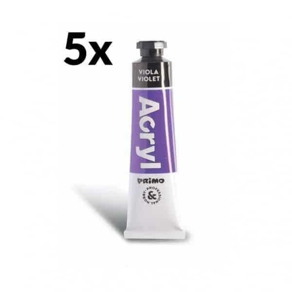 Akrylová barva PRIMO, tuba 18 ml, 5ks, fialová (č. barvy 400)