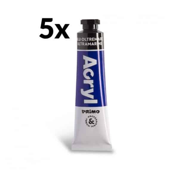 Akrylová barva PRIMO, tuba 18 ml, 5ks, modrá (č. barvy 500)