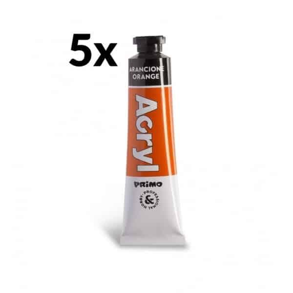 Akrylová barva PRIMO, tuba 18 ml, 5ks, oranžová (č. barvy 250)
