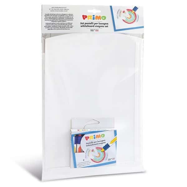 PRIMO Set: bílá tabule 35x24cm a voskové, suché pastelky 8 barev