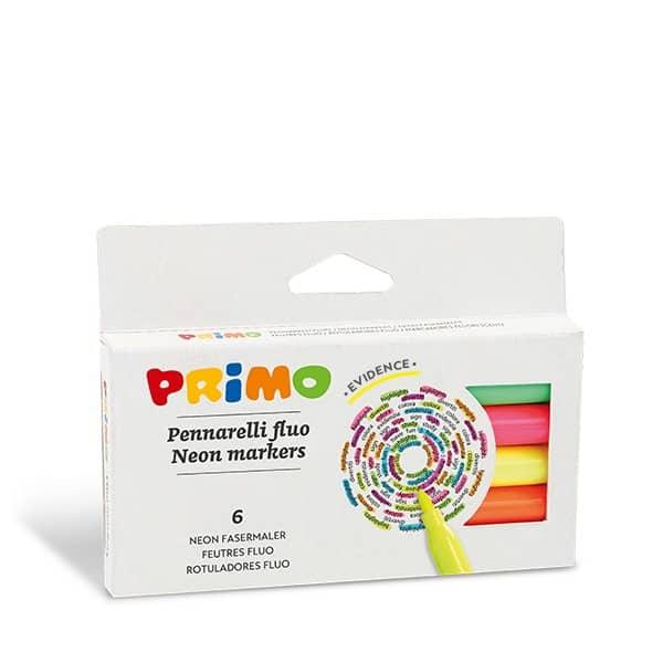 Fixy PRIMO FLUO, hrot 2mm, 6ks v papírové krabičce