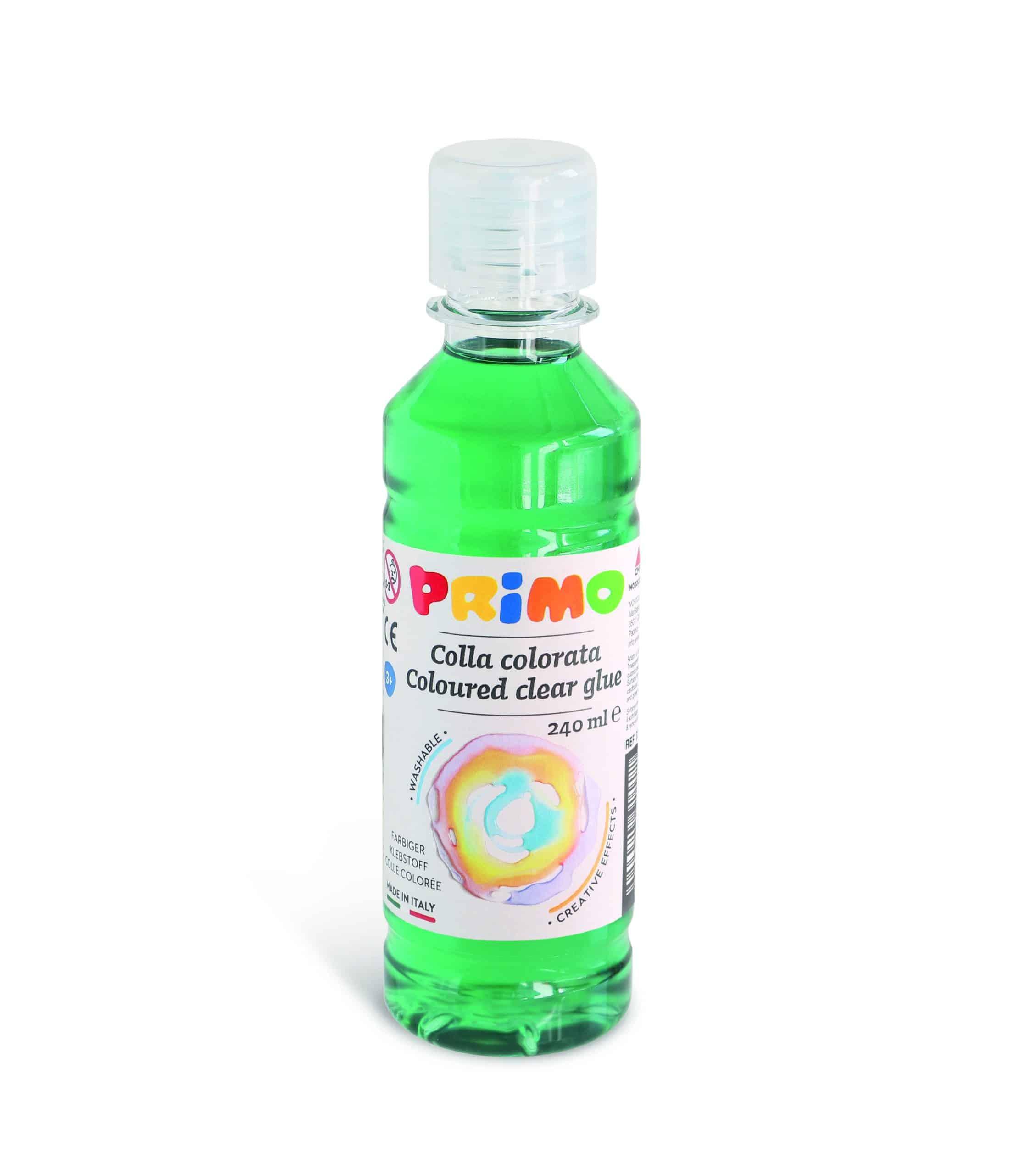 Barevné čiré lepidlo PRIMO na vodní bázi, 240 ml, zelené