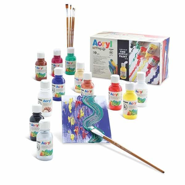 Akrylové barvy PRIMO, set 12 x 125 ml + 2x plátno + 5 štětců