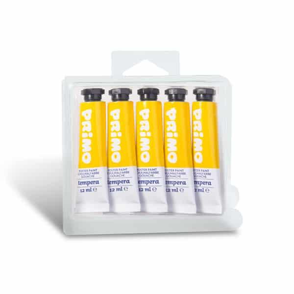 Temperová barva PRIMO, tuba 12 ml, 5ks, žlutá (č. barvy 201)