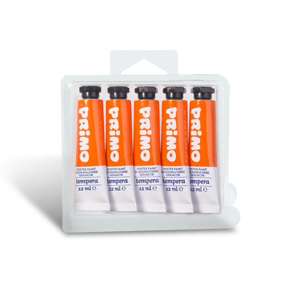 Temperová barva PRIMO, tuba 12 ml, 5ks, oranžová (č. barvy 250)