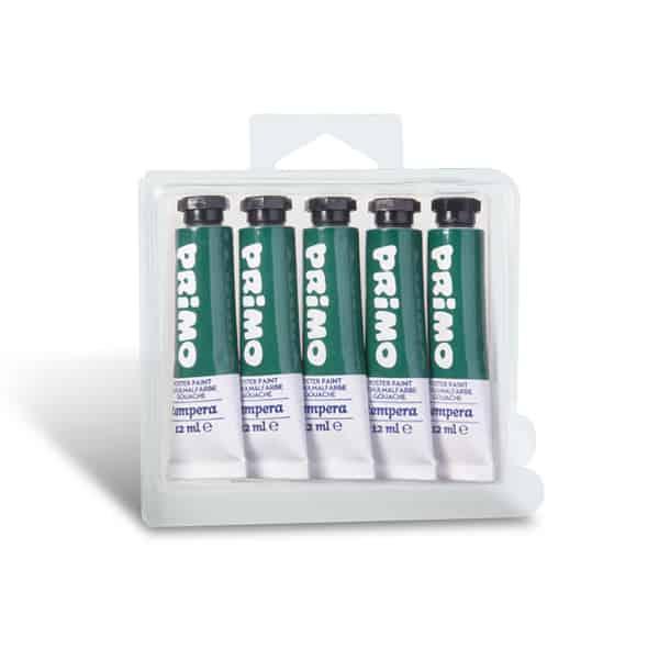 Temperová barva PRIMO, tuba 12 ml, 5ks, tm. zelená (č. barvy 630)